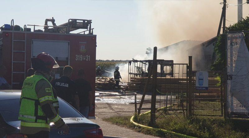 pożar Swarzędz tartak w Garbach